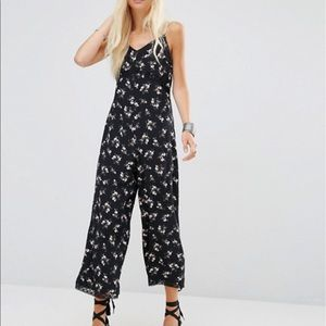 ASOS Jumpsuit in Ditsy Floral Print with Lace Trim